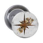 Steampunk Compass Star Grunge Pin