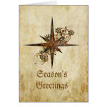Steampunk Compass Star Holiday Card