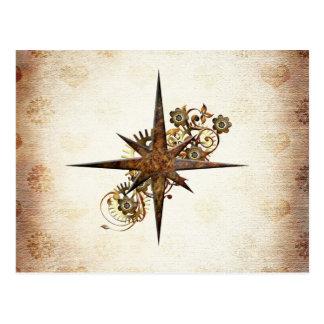 Steampunk Compass Star Postcard