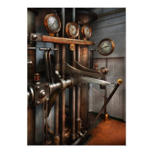 Steampunk - Controls - The Steamship control room 5x7 Paper Invitation Card