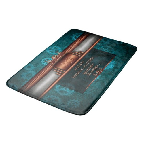 Steampunk, copper on teal cogwheels, Monogram Bath Mat