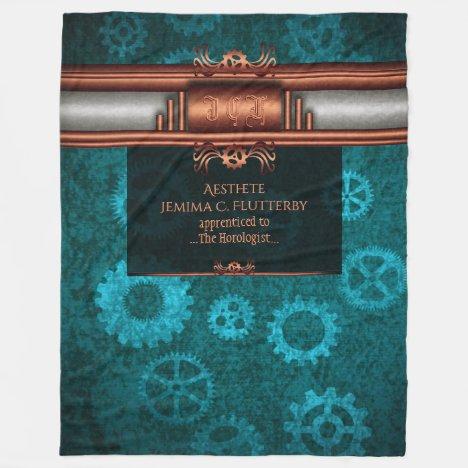 Steampunk, copper on teal cogwheels, Monogram Fleece Blanket