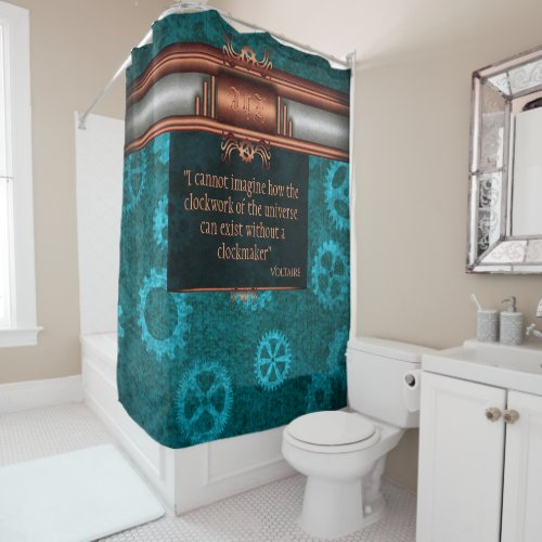 Steampunk, copper on teal gearwheels, Monogram Shower Curtain