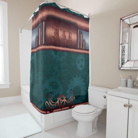 Steampunk, copper on teal sprockets, Monogram Shower Curtain