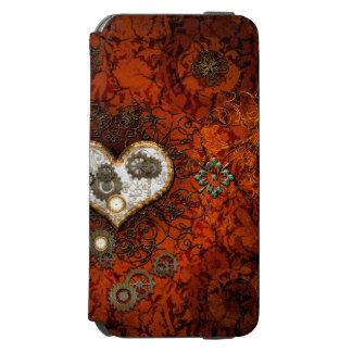 Steampunk, corazón con los relojes funda billetera para iPhone 6 watson