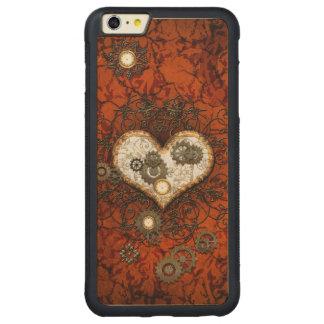 Steampunk, corazón con los relojes funda de arce bumper carved® para iPhone 6 plus