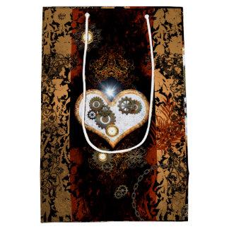 Steampunk, corazón hermoso con los engranajes y bolsa de regalo mediana