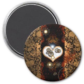 Steampunk, corazón hermoso con los engranajes y imán redondo 7 cm
