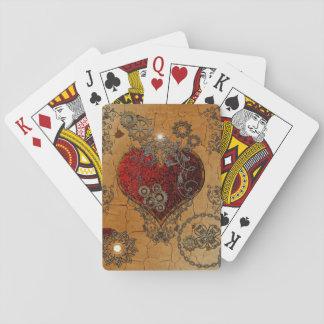 Steampunk, corazón impresionante barajas de cartas