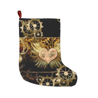 Steampunk, corazón maravilloso con los engranajes calcetín de navidad grande