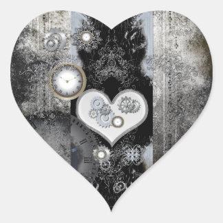 Steampunk, corazón maravilloso con los relojes y pegatina en forma de corazón