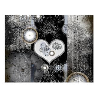Steampunk, corazón maravilloso con los relojes y tarjeta postal