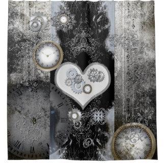 Steampunk, corazón maravilloso cortina de baño