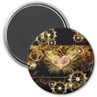 Steampunk, corazón maravilloso imán redondo 7 cm