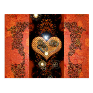 Steampunk, corazón maravilloso tarjeta postal