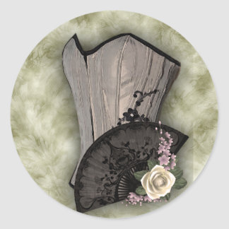 Steampunk Corset and Fan Goth Wedding Classic Round Sticker