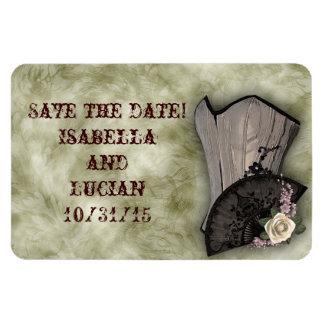 Steampunk Corset and Fan Goth Wedding Magnet