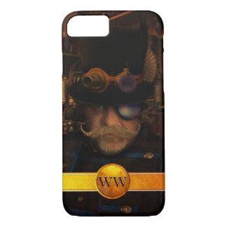 Steampunk Custom Gold Monogram Moustache Captain iPhone 7 Case