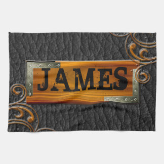 Steampunk Customize Leather Nameplate Hand Towel