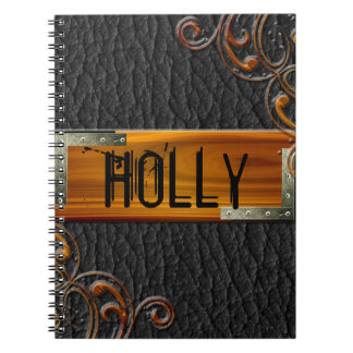 Steampunk Customize Leather Nameplate Notebook