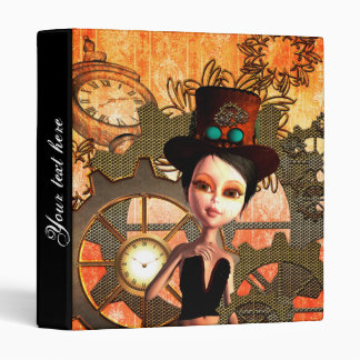 Steampunk, cute girl with steampunk hat binder