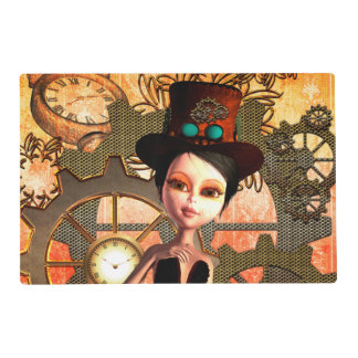 Steampunk, cute girl with steampunk hat, clocks placemat