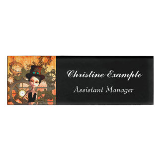 Steampunk, cute girl with steampunk hat name tag