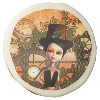 Steampunk, cute girl with steampunk hat sugar cookie
