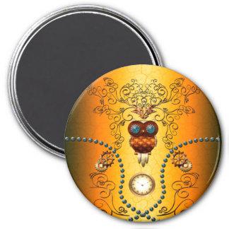 Steampunk , cute owl 3 inch round magnet
