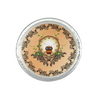 Steampunk , cute owl photo rings