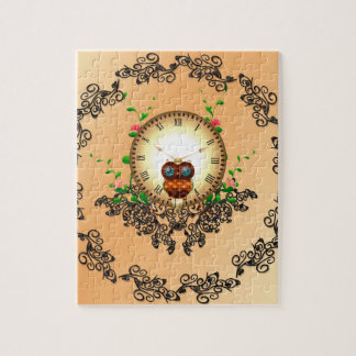 Steampunk , cute owl puzzles