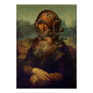 Steampunk da Vinci Mona Lisa Divers Helmet Pop Art Poster