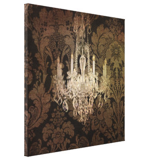 Steampunk damask country rustic vintage chandelier canvas print