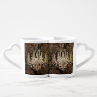 Steampunk damask country rustic vintage chandelier coffee mug set