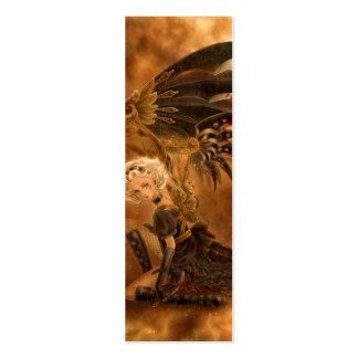 Steampunk Dark Angel Bookmark Double-Sided Mini Business Cards (Pack Of 20)