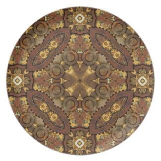 Steampunk de cobre amarillo inspiró la placa decor plato de cena