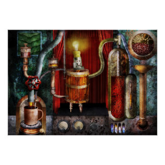 Steampunk - descanso para tomar café posters