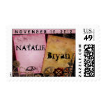 Steampunk design ... keys, gears and funky font postage stamp