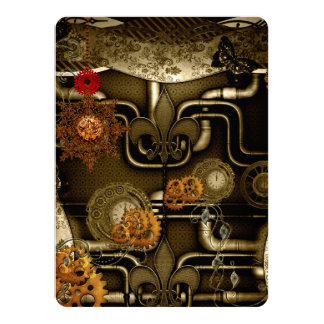 Steampunk design with clocks and gears card