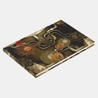 Steampunk design with clocks and gears guest book