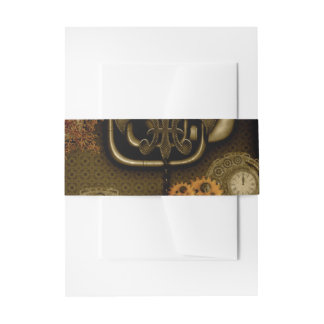 Steampunk design with clocks and gears invitation belly band