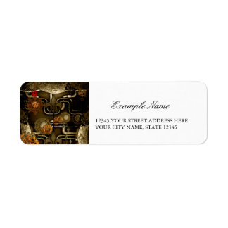 Steampunk design with clocks and gears label