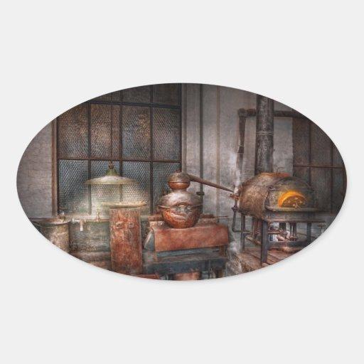 Steampunk - destilería privada calcomanías ovaladas personalizadas
