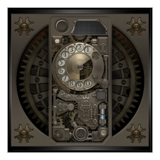 Steampunk Device - Rotary Dial Phone. Poster
