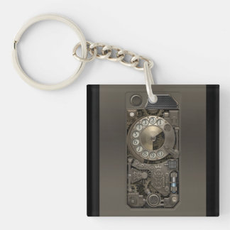 Steampunk Device - Rotary Dial Phone. Single-Sided Square Acrylic Keychain