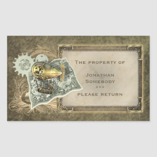 Steampunk Dirigible Air Tour Bookplate Stickers