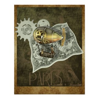 Steampunk Dirigible Air Tour Wall Print print