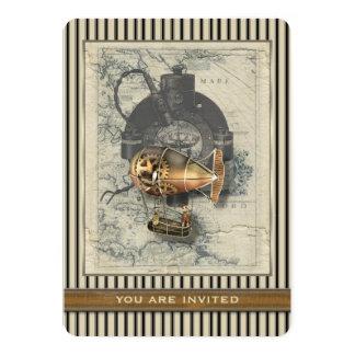 Steampunk Dirigible Balloon Ride Any Ocassion 5x7 Paper Invitation Card