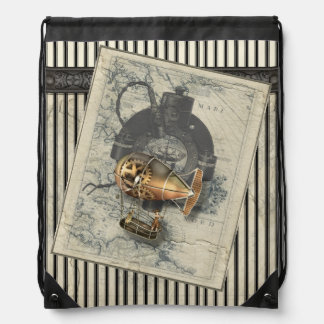 Steampunk Dirigible Balloon Ride Drawstring Bag