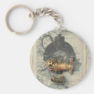 Steampunk Dirigible Balloon Ride Basic Round Button Keychain
